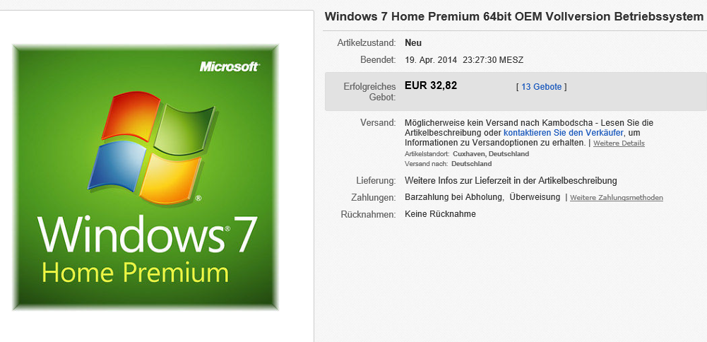 Windows 7 Home Premium von eBay