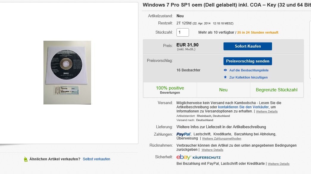 Windows 7 Professional von eBay