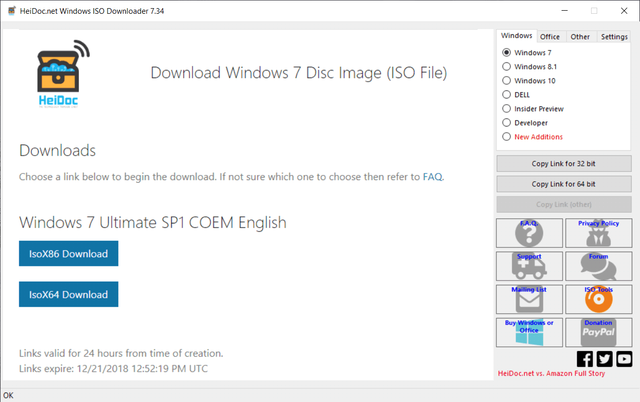 screenshot of Microsoft Windows and Office ISO Download Tool